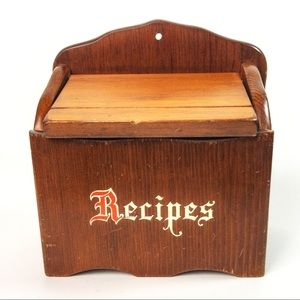 Vintage Wood Recipe Box Wall Hanging